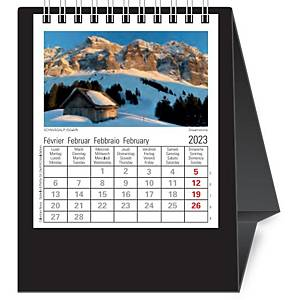 Tischplaner Novos Schweiz, 1 Monat pro Seite, Kunststoff, schwarz