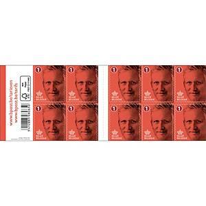 Timbres national 1 Belgique, autocollants, jusqu'à 50 g, feuille de 100 timbres