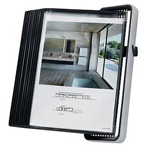 Nástenný prezentačný stojan s 10 panelmi Veo A4 sivý