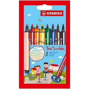 Stabilo® Trio Scribbi viltstiften, assorti kleuren,  pak van 8 stiften