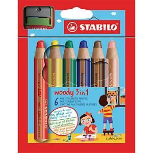 Stabilo® Woody 3-in-1 kleurpotloden en 1 slijper, pak van 6 potloden