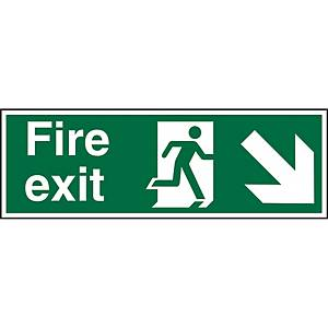 Fire Exit Down Right Sign 450 X 150mm Vinyl