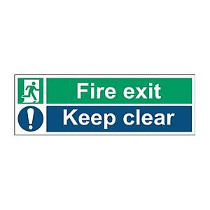 Fire Exit Keep Clear Sign 450 X 150mm PP