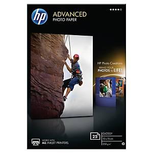 Pacote 25 folhas papel fotográfico inkjet HP Q8691A - 10x15 cm - 250 g/m²