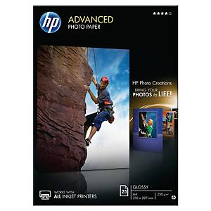 Papier photo A4 blanc HP Q5456A Advanced glossy, 250 g, les 25 feuilles