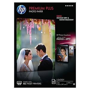Papier photo jet d encre A4 HP Premium Plus - brillant - 300 g - 50 feuilles