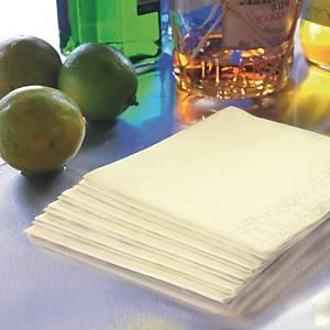 Serviette Duni en ouate - 2 plis - 33 x 33 cm - crème - paquet de 125