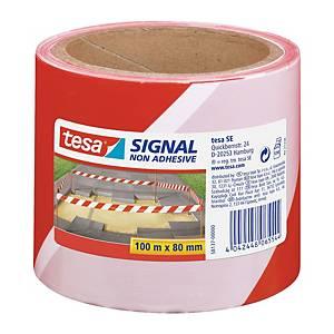 tesa® Signal nem ragasztós jelölőszalag 80 mm x 100 m, féhér/piros, 4 darab