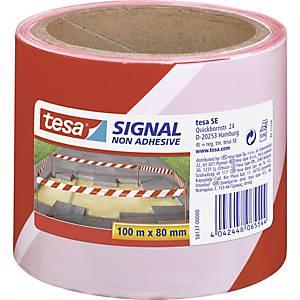 Avspärrningsband Tesa Signal, rött/vitt