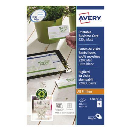 Avery C32075 Cartes De Visite Recyc Laser 85x54mm 220g Blanc Brill Bte 250