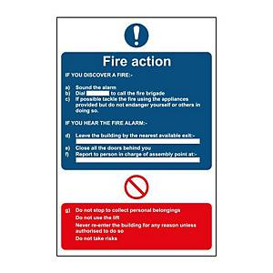 Fire Action Sign 200 x 300mm PP