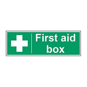 First Aid Box Sign 100 X 300mm Vinyl