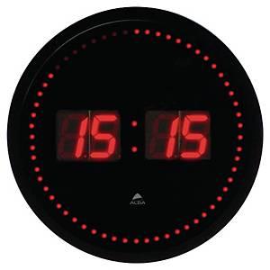 Horloge numérique LED rouge Alba, noire