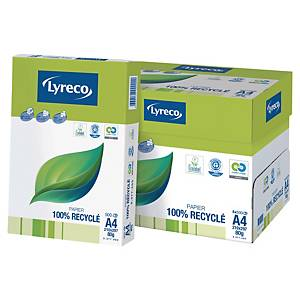 RM500 LYRECO 100% RECYCLED PAP A4 80G WH