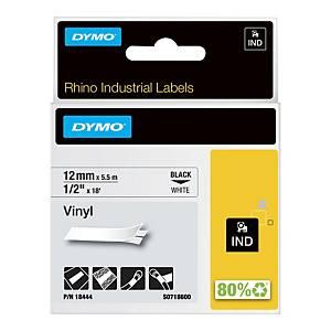 Nastro Dymo per etichettatrice Rhino 12 mm vinile bianco 18444