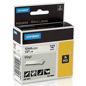 DYMO RHINO TAPE VINYL 5.5M X 12 MM - BLACK ON WHITE