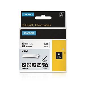 Fita industrial Dymo Rhino - 12mm - vinil - preto em fundo branco