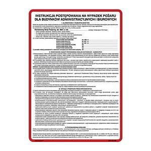 Instrukcja postępowania na wypadek pożaru dla bud. adm., 350 x 250 mm