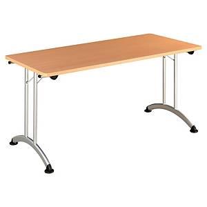 Table pliante Buronomic - 70 x 140 cm - hêtre