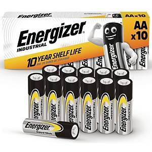 Batterier Energizer Industrial Alkaline AA, pakke a 10 stk.