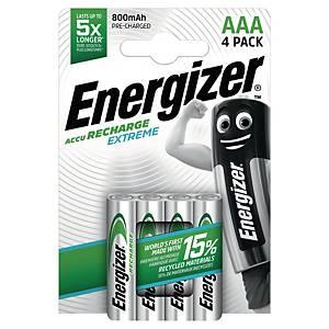 Energizer Extreme wiederaulad. Batterien, HR3/AAA, 800 mAh, Packung mit 4 Stück