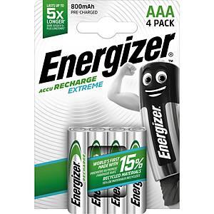 Batteries Energizer Rechargeable AAA, HR03/E92/AM4/Micro, paq. 4unités