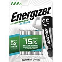 Genopladelige batterier Energizer NIMH AAA, pakke a 4 stk.
