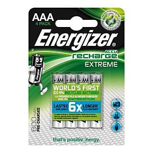 Pack de 4 pilhas recarregáveis Energizer Extreme AAA/HR03 - 800 mAh