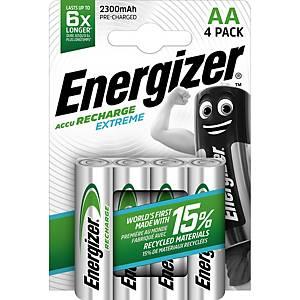 Batteries Energizer Rechargeable AA, HR6/E91/AM3/Mignon, paq. 4unités