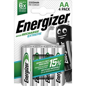 Batteria Energizer ricaricabile AA, HR6/E91/AM3/Mignon, 4 pzi