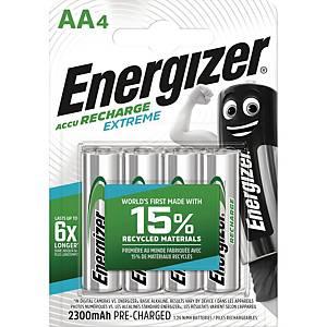 Genopladelige batterier Energizer NIMH AA, pakke a 4 stk.