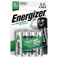 Uppladdningsbara batterier Energizer NIMH AA, förp. med 4 st.