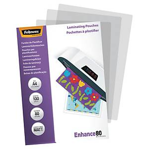Fellowes laminating pouches for hot laminating  A4 160 mic mat - pack of 100