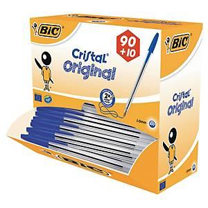 Bic® Cristal balpen met dop, medium, blauw, per 90 balpennen + 10 gratis