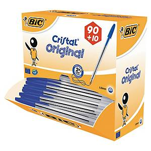 Kugelschreiber BiC Cristal, 90+10 gratis, blau, Packung à 100 Stück
