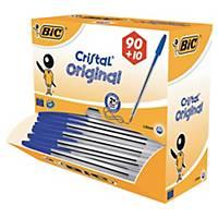 Kugelschreiber BIC Cristal Original, Kappe, Strichstärke: 0,4mm, blau, 100 Stück