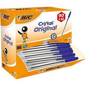 Bic Cristal Medium Ball Point Pen Blue - Box of 90 Plus 10 Free Pens