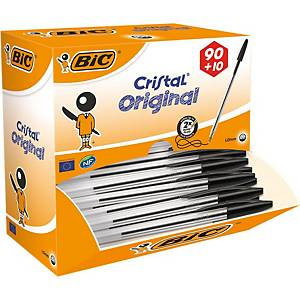 Bic Cristal Original Ballpoint Pens Med Point 1.0 mm - Black, Value Pack 100