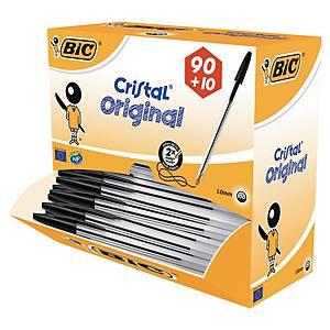 Bic® Cristal balpen met dop, medium, zwart, per 90 balpennen + 10 gratis