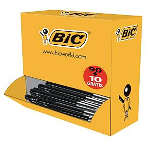 Bic® M10 balpen, intrekbaar, medium, zwart, per 90 stuks + 10 gratis