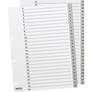 Register Kolma A4, PP, 1-52, grau