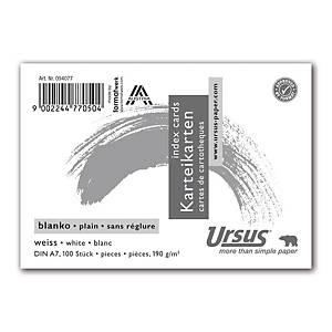 Karteikarten Ursus A7, blanko, weiss, Packung à 100 Stück