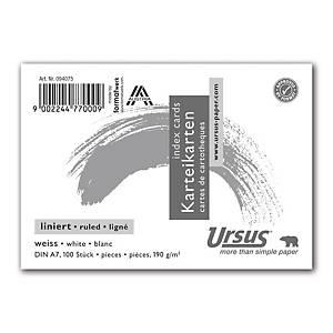 Karteikarten Ursus A7, liniert, weiss, Packung à 100 Stück