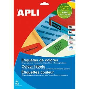 Caixa 480 etiquetas autocolantes Apli 1594 - 70x37 mm - verde
