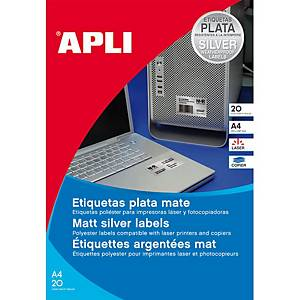 Caixa 20 etiquetas de poliéster Apli 10070 - 63,5x29,6 mm - metalizado
