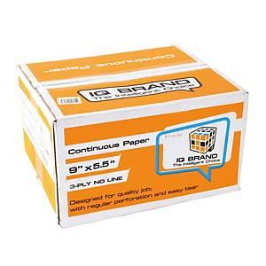 IQ กระดาษต่อเนื่อง 3 ชั้น 9x5.5 นิ้ว 1 กล่อง 1000 ชุด