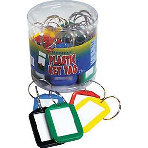 BENNON BN-10 Key Tags Assorted Colours - Pack of 25
