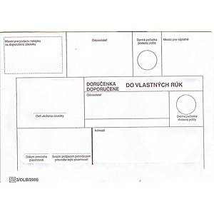 Obálky s doručenkou,  do vlastných rúk, bez opak. doručenia , B6, 50 ks/bal