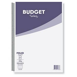 Caderno espiral Lyreco Budget - fólio - 80 folhas - quadriculado