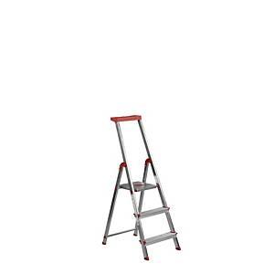 Escalera de aluminio Rolser - 3 peldaños - aluminio y rojo